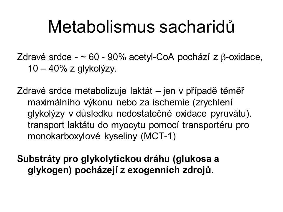 Metabolismus sacharidů Zdravé srdce - ~ 60 - 90% acetyl-CoA pochází z  -oxidace, 10 – 40% z glykolýzy.