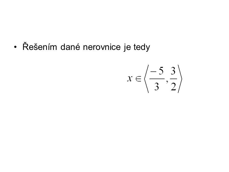 Řešením dané nerovnice je tedy
