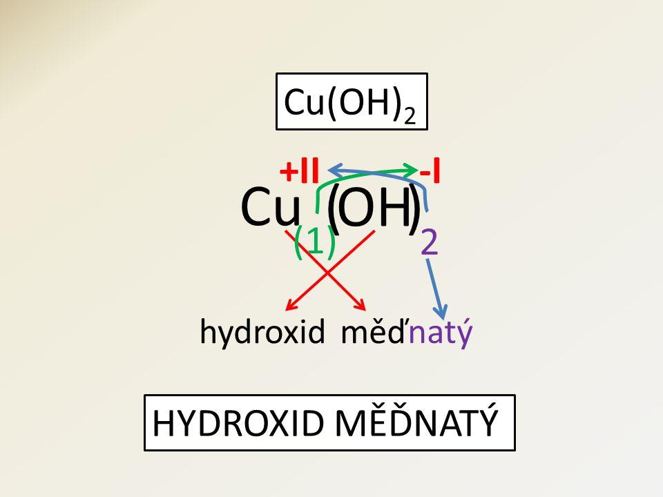 Cu(OH) 2 HYDROXID MĚĎNATÝ OH Cu 2 (1) +II-I hydroxidměď natý )(