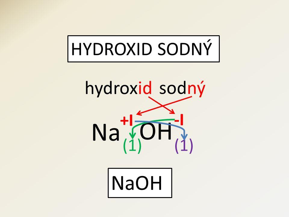 HYDROXID SODNÝ hydroxid OH sod Na (1) NaOH +I -I ný