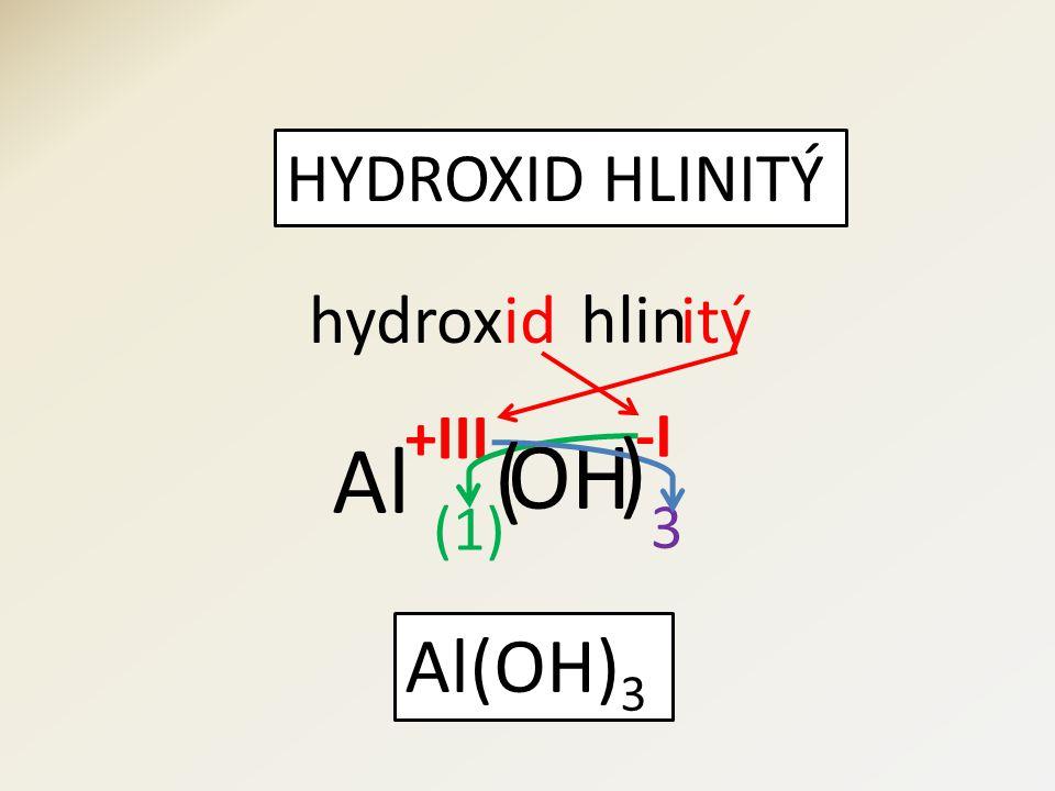 HYDROXID HLINITÝ hydroxid OH hlin Al 3 (1) Al(OH) 3 +III -I itý ( )