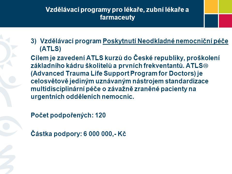 Vzdělávací programy pro lékaře, zubní lékaře a farmaceuty 3) Vzdělávací program Poskytnutí Neodkladné nemocniční péče (ATLS) Cílem je zavedení ATLS kurzů do České republiky, proškolení základního kádru školitelů a prvních frekventantů.