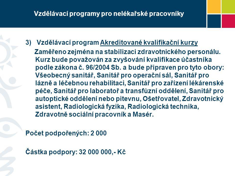 Vzdělávací programy pro nelékařské pracovníky 3) Vzdělávací program Akreditované kvalifikační kurzy Zaměřeno zejména na stabilizaci zdravotnického personálu.