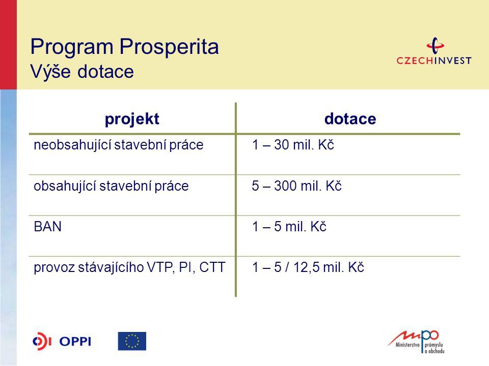 Program Prosperita Výše dotace projekt dotace neobsahující stavební práce 1 – 30 mil.
