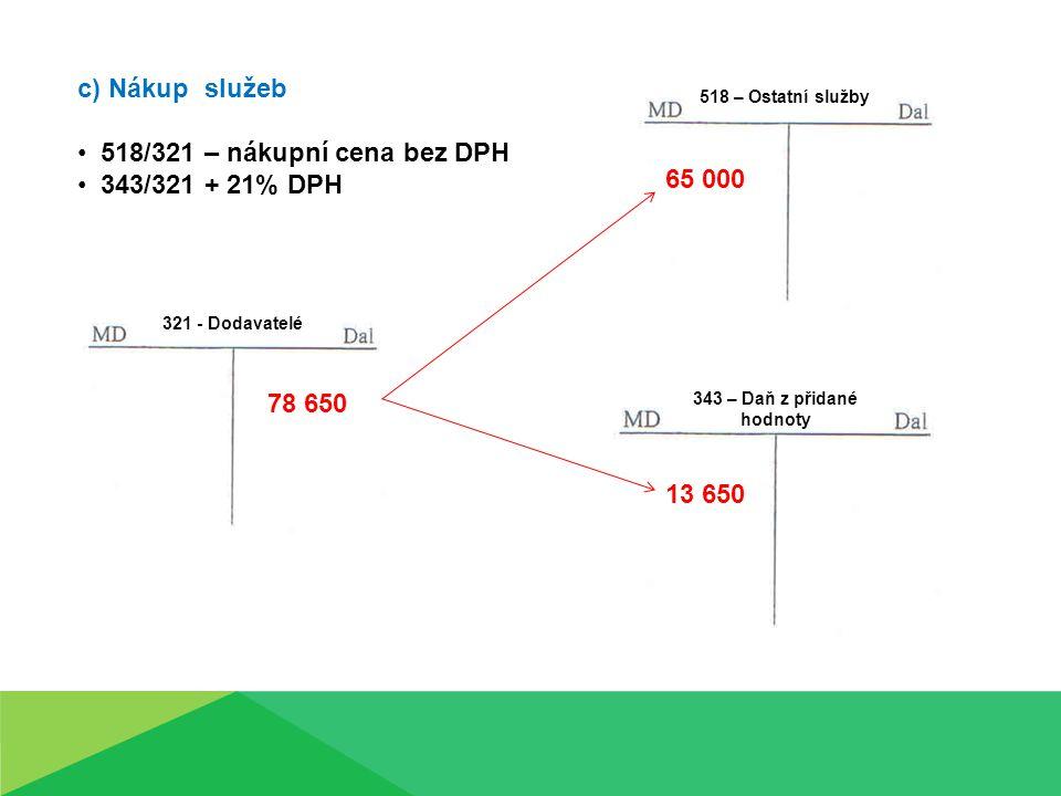 c) Nákup služeb 518/321 – nákupní cena bez DPH 343/321 + 21% DPH 321 - Dodavatelé 518 – Ostatní služby 343 – Daň z přidané hodnoty 78 650 65 000 13 650
