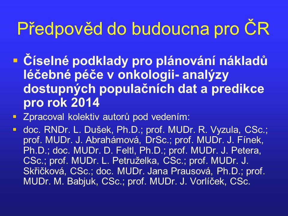 Předpověd do budoucna pro ČR   Číselné podklady pro plánování nákladů léčebné péče v onkologii- analýzy dostupných populačních dat a predikce pro ro