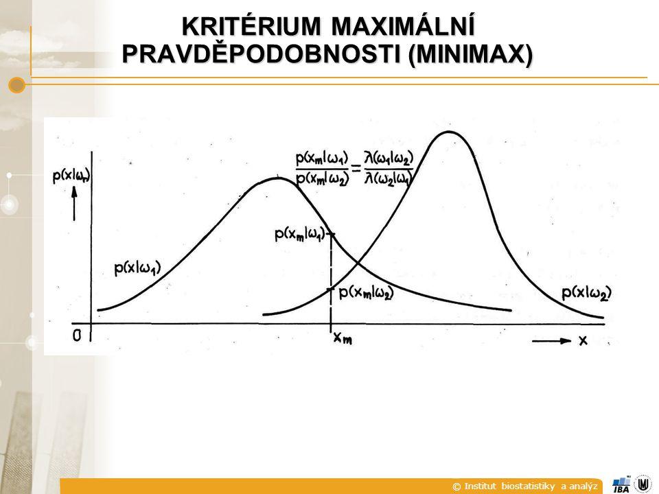 © Institut biostatistiky a analýz KRITÉRIUM MAXIMÁLNÍ PRAVDĚPODOBNOSTI (MINIMAX)