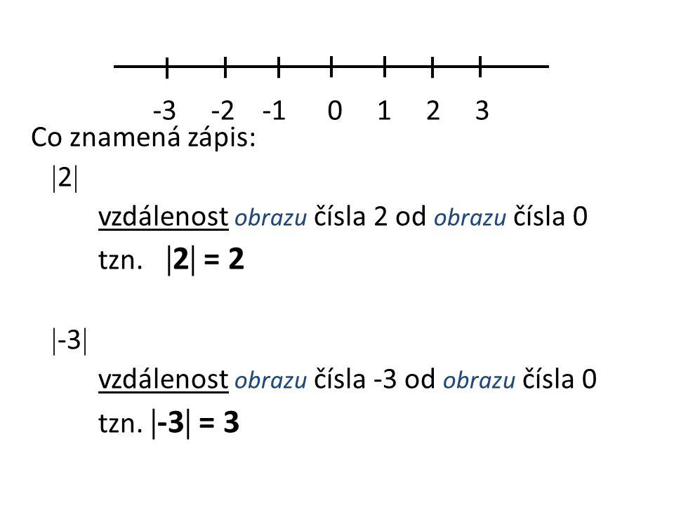 Co znamená zápis:  2  vzdálenost obrazu čísla 2 od obrazu čísla 0 tzn.  2  = 2  -3  vzdálenost obrazu čísla -3 od obrazu čísla 0 tzn.  -3  = 3