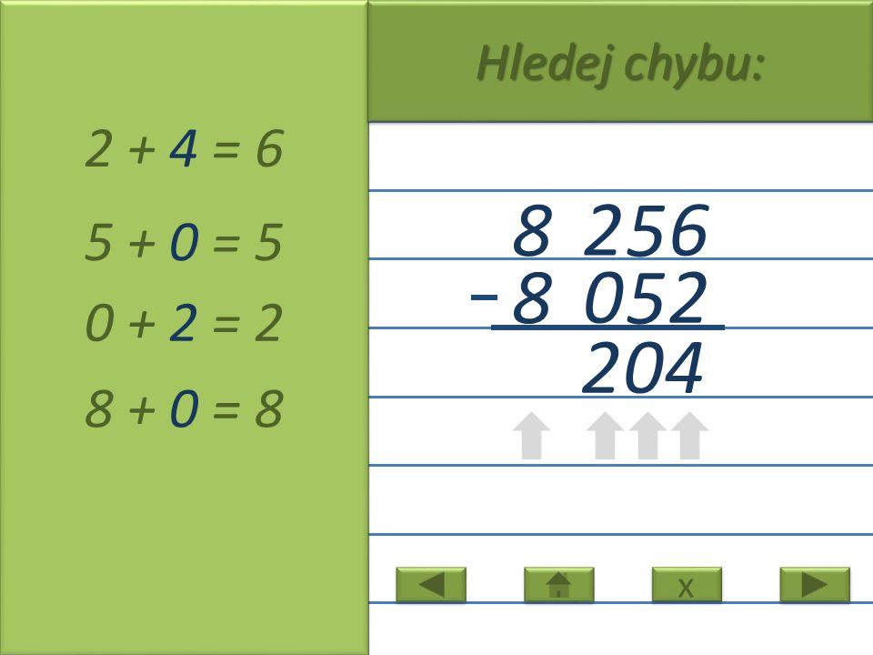 6 5 2 8 2 5 0 8 2 + 4 = 6 5 + 0 = 5 0 + 2 = 2 8 + 0 = 8 2 x x Hledej chybu: 04