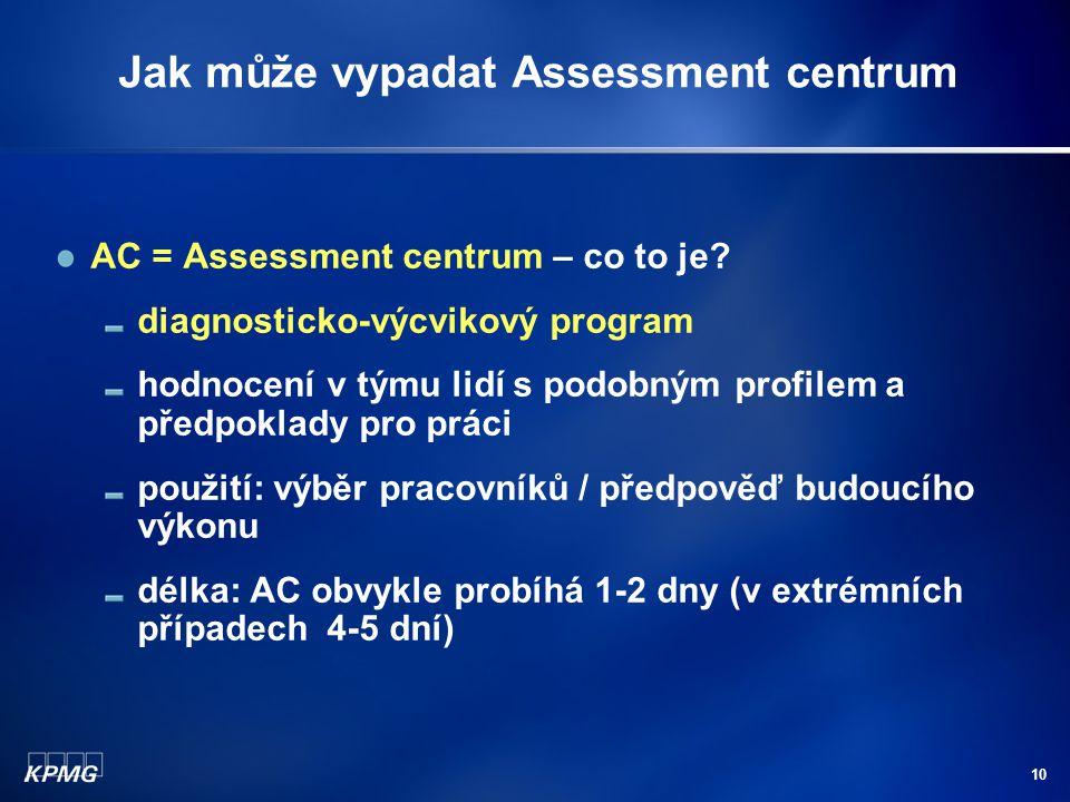 10 Jak může vypadat Assessment centrum AC = Assessment centrum – co to je.