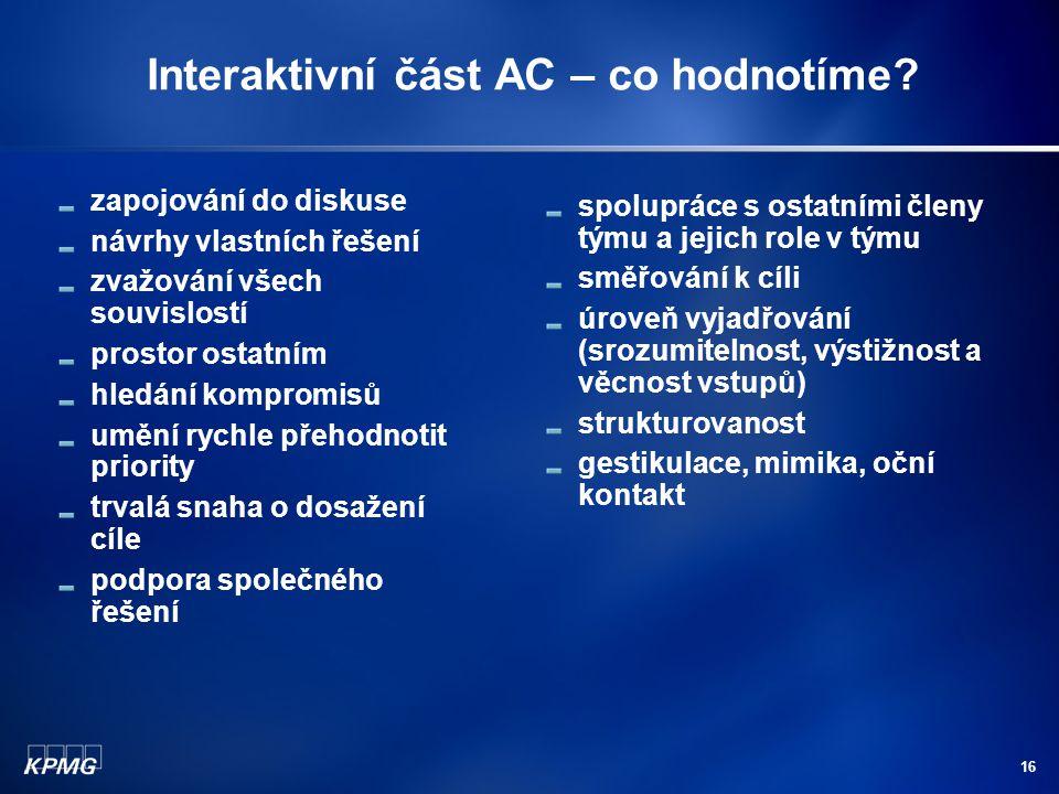 16 Interaktivní část AC – co hodnotíme.