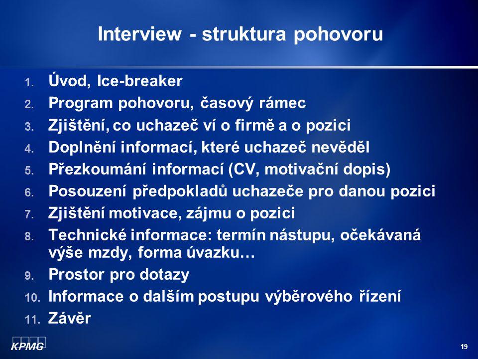 19 Interview - struktura pohovoru 1.Úvod, Ice-breaker 2.