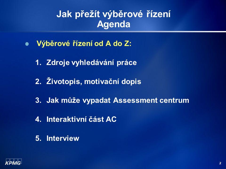 2 Výběrové řízení od A do Z: 1.Zdroje vyhledávání práce 2.Životopis, motivační dopis 3.Jak může vypadat Assessment centrum 4.Interaktivní část AC 5.