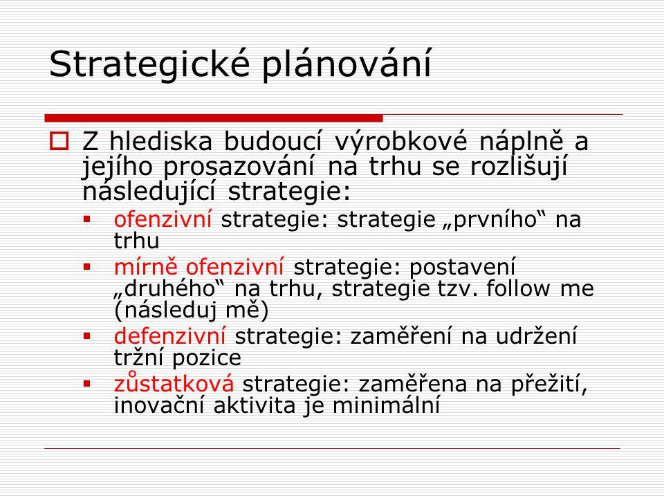 Strategické plánování  Z hlediska budoucí výrobkové náplně a jejího prosazování na trhu se rozlišují následující strategie:  ofenzivní strategie: st
