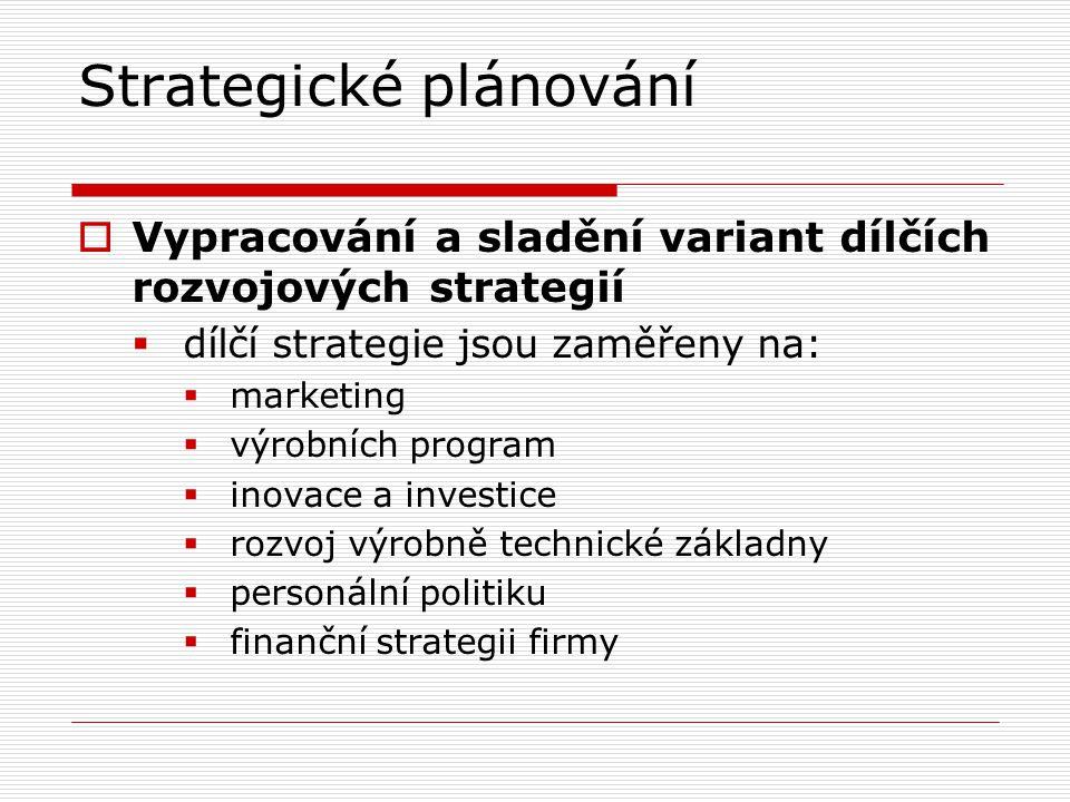 Strategické plánování  Vypracování a sladění variant dílčích rozvojových strategií  dílčí strategie jsou zaměřeny na:  marketing  výrobních progra