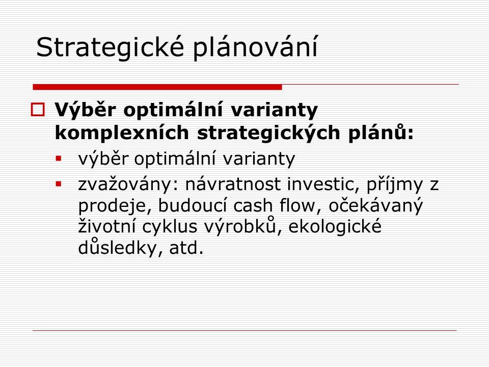 Strategické plánování  Výběr optimální varianty komplexních strategických plánů:  výběr optimální varianty  zvažovány: návratnost investic, příjmy