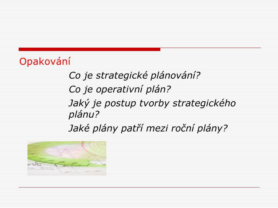 Opakování Co je strategické plánování? Co je operativní plán? Jaký je postup tvorby strategického plánu? Jaké plány patří mezi roční plány?