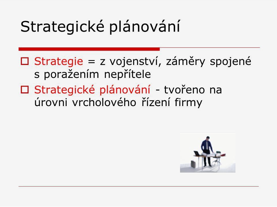 Strategické plánování  Strategie = z vojenství, záměry spojené s poražením nepřítele  Strategické plánování - tvořeno na úrovni vrcholového řízení f