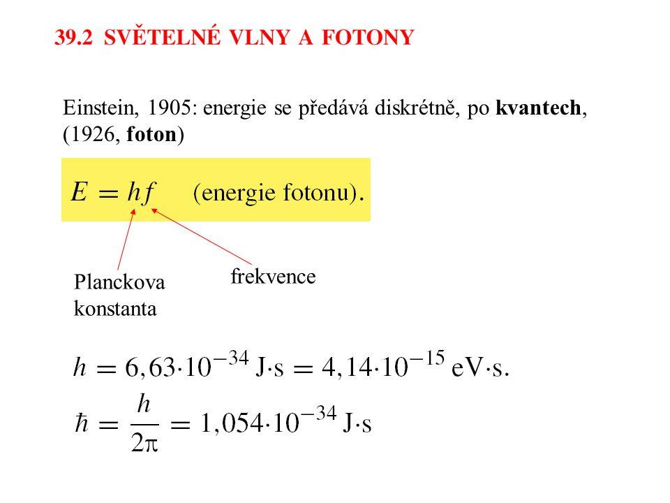 Einstein, 1905: energie se předává diskrétně, po kvantech, (1926, foton) Planckova konstanta frekvence
