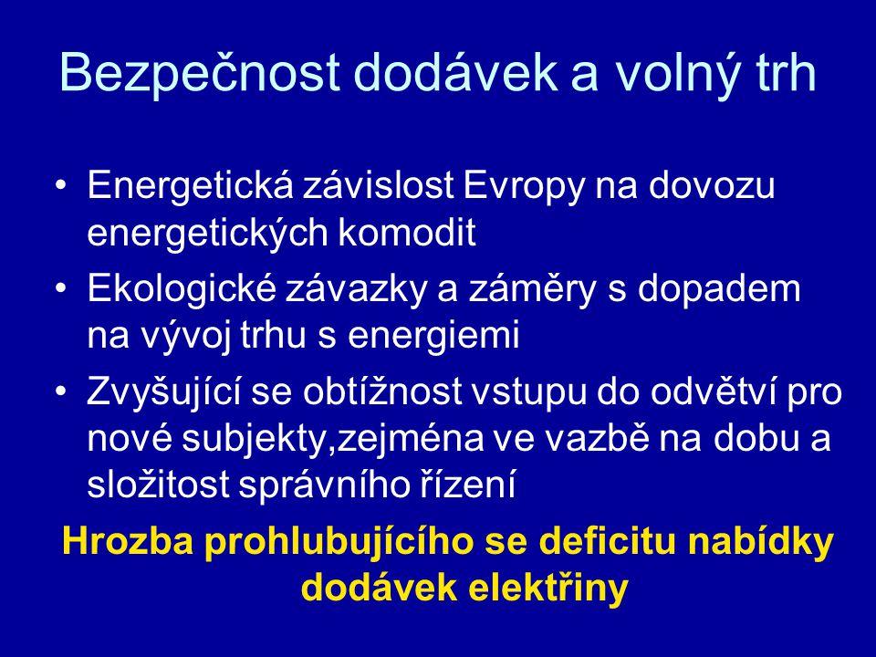 Bezpečnost dodávek a volný trh Energetická závislost Evropy na dovozu energetických komodit Ekologické závazky a záměry s dopadem na vývoj trhu s energiemi Zvyšující se obtížnost vstupu do odvětví pro nové subjekty,zejména ve vazbě na dobu a složitost správního řízení Hrozba prohlubujícího se deficitu nabídky dodávek elektřiny