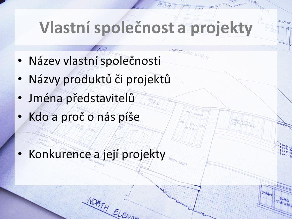 Vlastní společnost a projekty Název vlastní společnosti Názvy produktů či projektů Jména představitelů Kdo a proč o nás píše Konkurence a její projekty