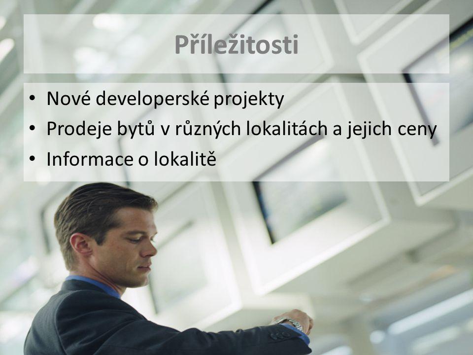 Příležitosti Nové developerské projekty Prodeje bytů v různých lokalitách a jejich ceny Informace o lokalitě