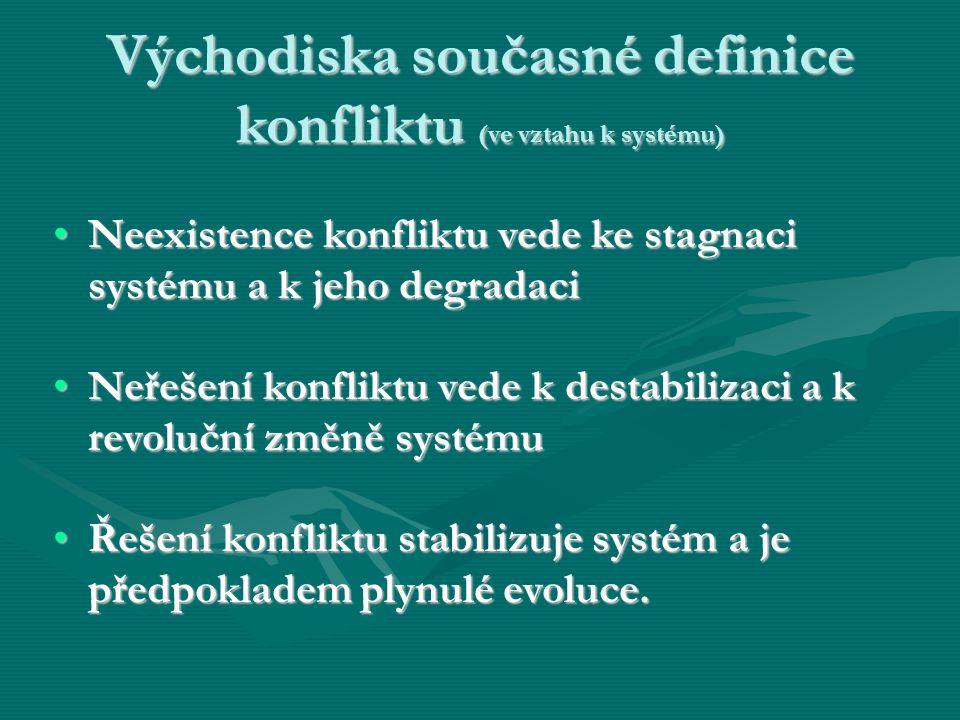 Východiska současné definice konfliktu (ve vztahu k systému) Neexistence konfliktu vede ke stagnaci systému a k jeho degradaciNeexistence konfliktu ve