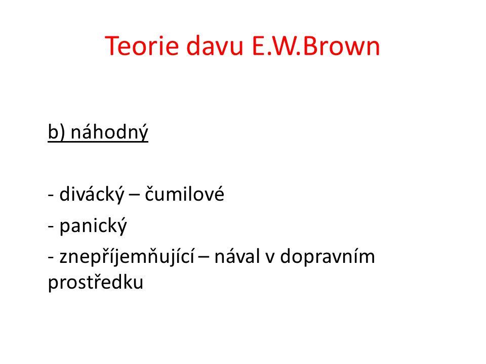 Teorie davu E.W.Brown b) náhodný - divácký – čumilové - panický - znepříjemňující – nával v dopravním prostředku