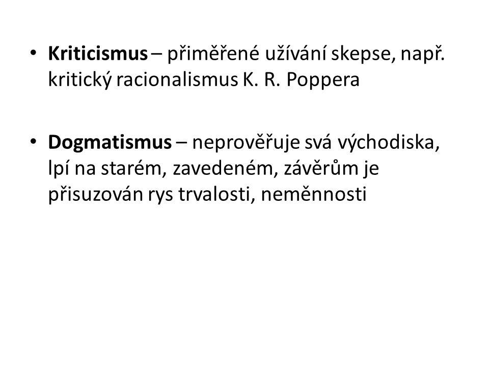 Kriticismus – přiměřené užívání skepse, např. kritický racionalismus K.