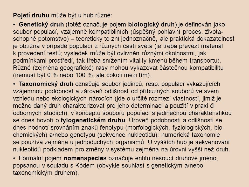 Pojetí druhu může být u hub různé: Genetický druh (totéž označuje pojem biologický druh) je definován jako soubor populací, vzájemně kompatibilních (ú