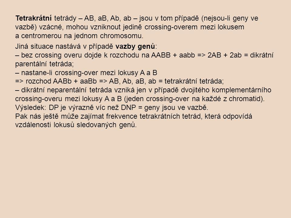 Tetrakrátní tetrády – AB, aB, Ab, ab – jsou v tom případě (nejsou-li geny ve vazbě) vzácné, mohou vzniknout jedině crossing-overem mezi lokusem a cent