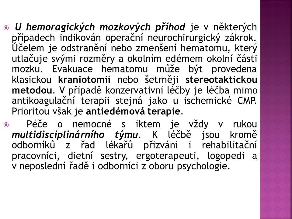  U hemoragických mozkových příhod je v některých případech indikován operační neurochirurgický zákrok. Účelem je odstranění nebo zmenšení hematomu, k