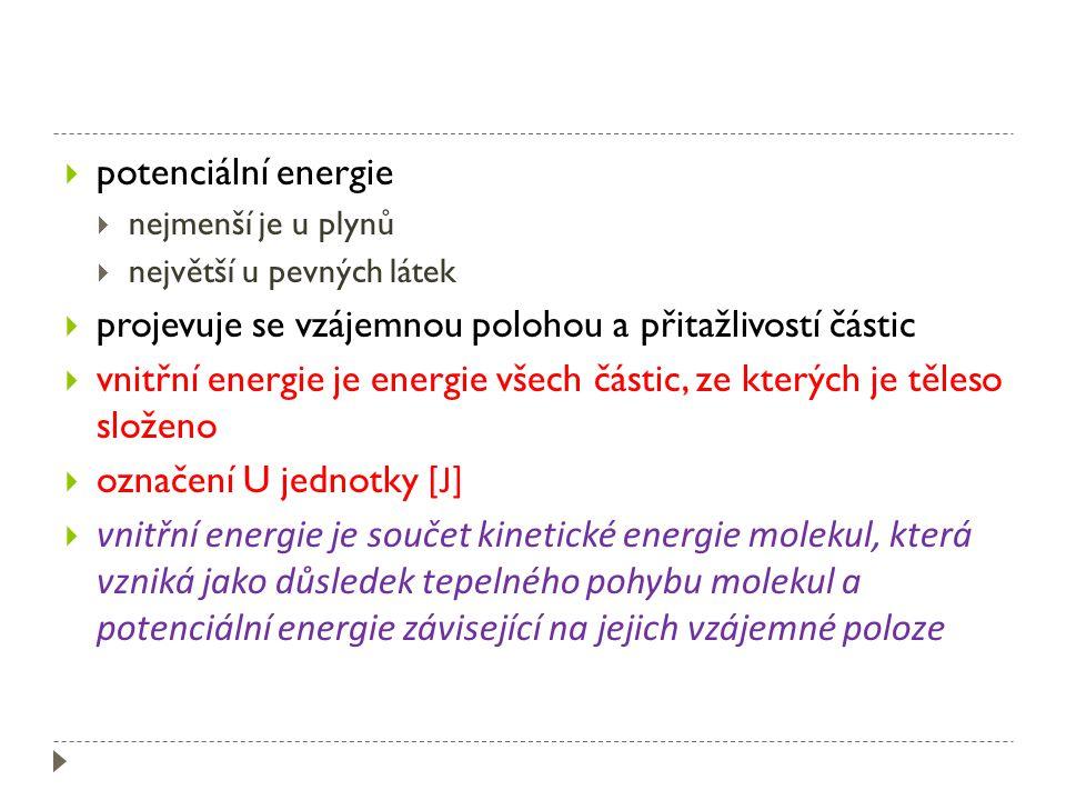  potenciální energie  nejmenší je u plynů  největší u pevných látek  projevuje se vzájemnou polohou a přitažlivostí částic  vnitřní energie je energie všech částic, ze kterých je těleso složeno  označení U jednotky [J]  vnitřní energie je součet kinetické energie molekul, která vzniká jako důsledek tepelného pohybu molekul a potenciální energie závisející na jejich vzájemné poloze