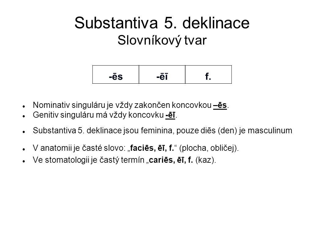 Substantiva 5. deklinace Slovníkový tvar Nominativ singuláru je vždy zakončen koncovkou –ēs. Genitiv singuláru má vždy koncovku -ēī. Substantiva 5. de