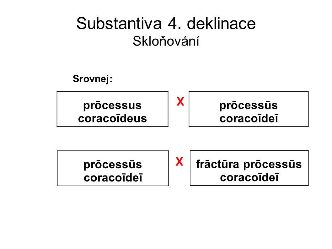 Substantiva 4. deklinace Skloňování prōcessus coracoīdeus prōcessūs coracoīdeī Srovnej: X prōcessūs coracoīdeī frāctūra prōcessūs coracoīdeī X
