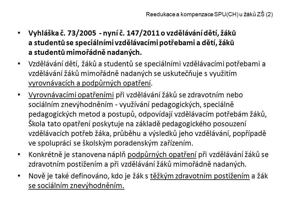 Reedukace a kompenzace SPU(CH) u žáků ZŠ (2) Vyhláška č. 73/2005 - nyní č. 147/2011 o vzdělávání dětí, žáků a studentů se speciálními vzdělávacími pot