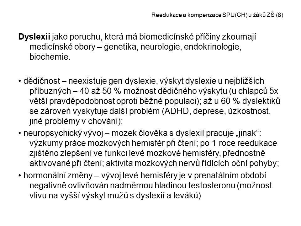 Reedukace a kompenzace SPU(CH) u žáků ZŠ (8) Dyslexii jako poruchu, která má biomedicínské příčiny zkoumají medicínské obory – genetika, neurologie, e