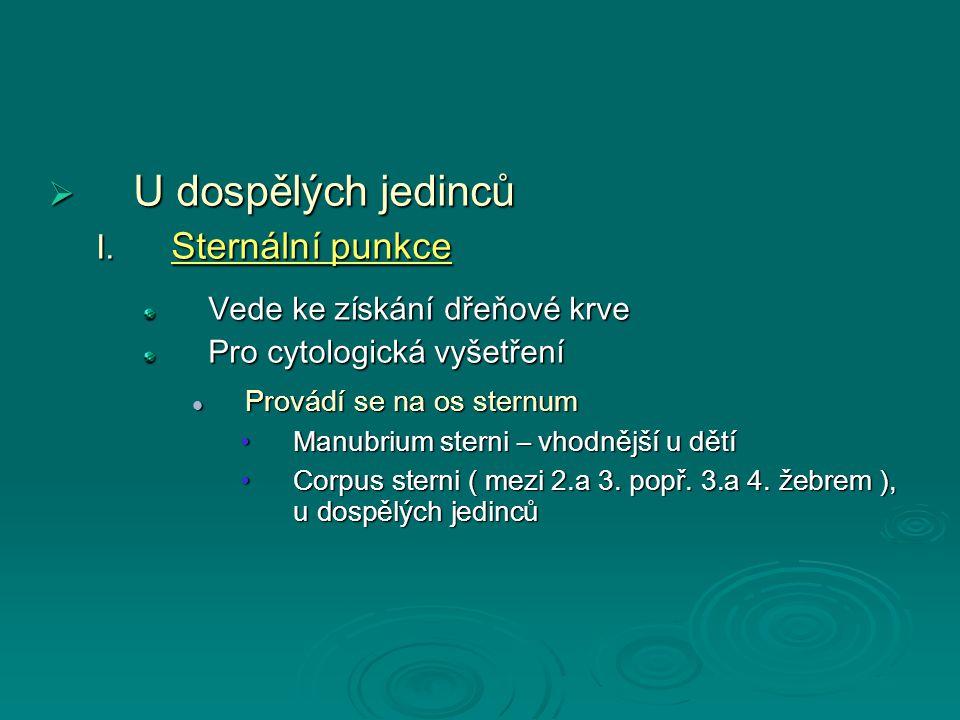 UUUU dospělých jedinců  S ternální punkce Vede ke získání dřeňové krve Pro cytologická vyšetření Provádí se na os sternum Manubrium sterni – vhodnější u dětí Corpus sterni ( mezi 2.a 3.