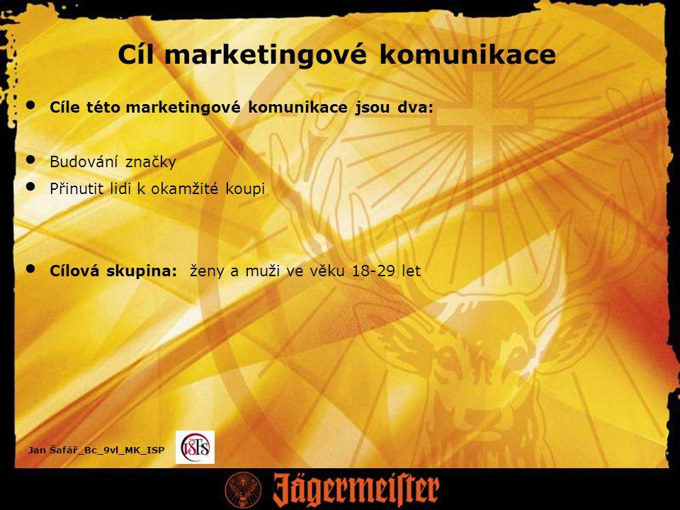 Jan Šafář_Bc_9vl_MK_ISP Cíl marketingové komunikace Cíle této marketingové komunikace jsou dva: Budování značky Přinutit lidi k okamžité koupi Cílová skupina: ženy a muži ve věku 18-29 let