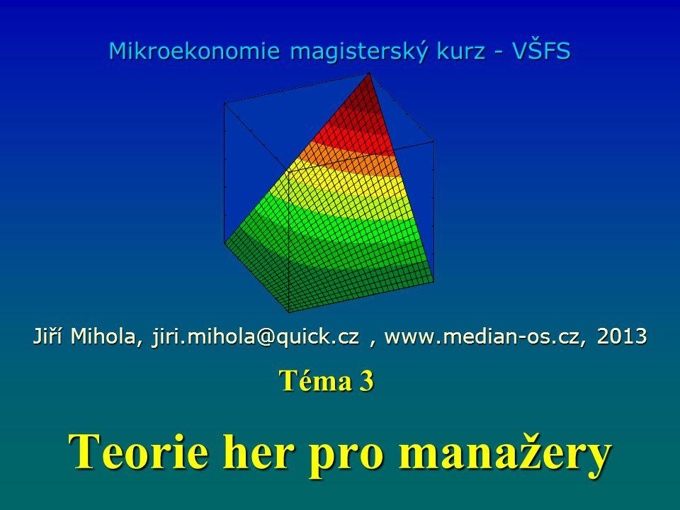 Teorie her pro manažery Mikroekonomie magisterský kurz - VŠFS Jiří Mihola, jiri.mihola@quick.cz, www.median-os.cz, 2013 Téma 3