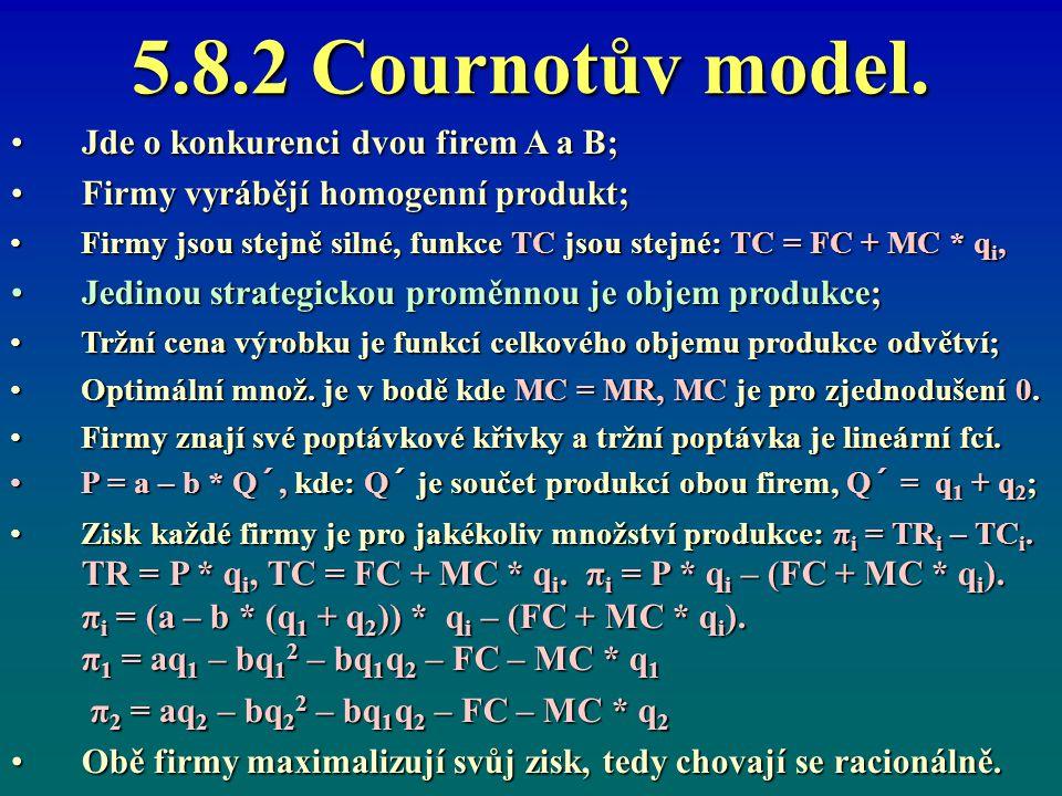5.8.2 Cournotův model. Jde o konkurenci dvou firem A a B;Jde o konkurenci dvou firem A a B; Firmy vyrábějí homogenní produkt;Firmy vyrábějí homogenní