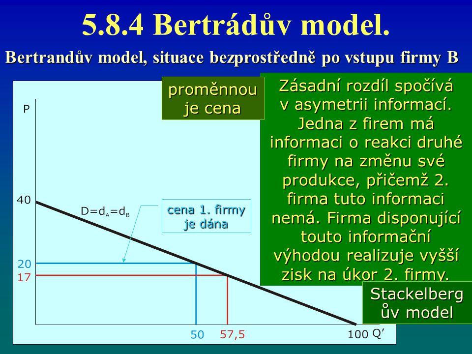 5.8.4 Bertrádův model. Bertrandův model, situace bezprostředně po vstupu firmy B Zásadní rozdíl spočívá v asymetrii informací. Jedna z firem má inform