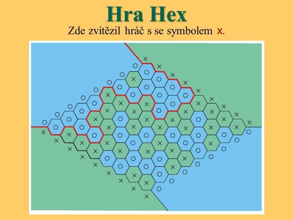 Hra Hex Je dokázáno, že  Hex nemůže skončit remízou Je-li každý hexagon označen ○ nebo x, pak lze dokázat, že jedna z dvojice protějších stran musí být spojena.
