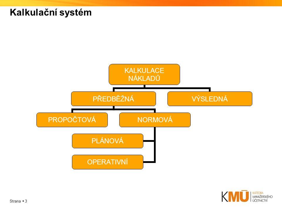 Strana  3 Kalkulační systém KALKULACE NÁKLADŮ PŘEDBĚŽNÁ PROPOČTOVÁNORMOVÁ PLÁNOVÁ OPERATIVNÍ VÝSLEDNÁ