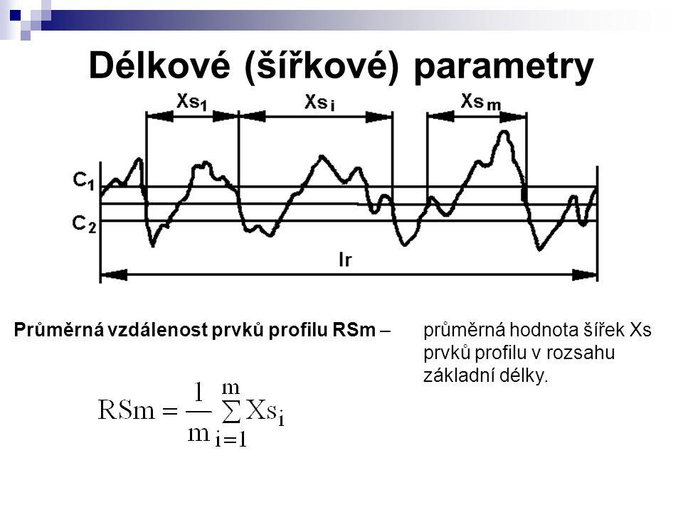 Délkové (šířkové) parametry Průměrná vzdálenost prvků profilu RSm – průměrná hodnota šířek Xs prvků profilu v rozsahu základní délky.