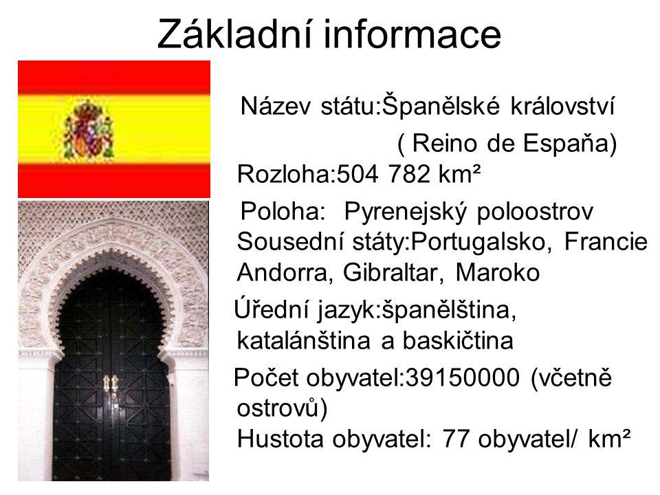 Základní informace Název státu:Španělské království ( Reino de Espaňa) Rozloha:504 782 km² Poloha:Pyrenejský poloostrov Sousední státy:Portugalsko, Fr