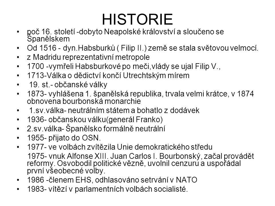 HISTORIE poč 16. století -dobyto Neapolské království a sloučeno se Španělskem Od 1516 - dyn.Habsburků ( Filip II.) země se stala světovou velmocí. z