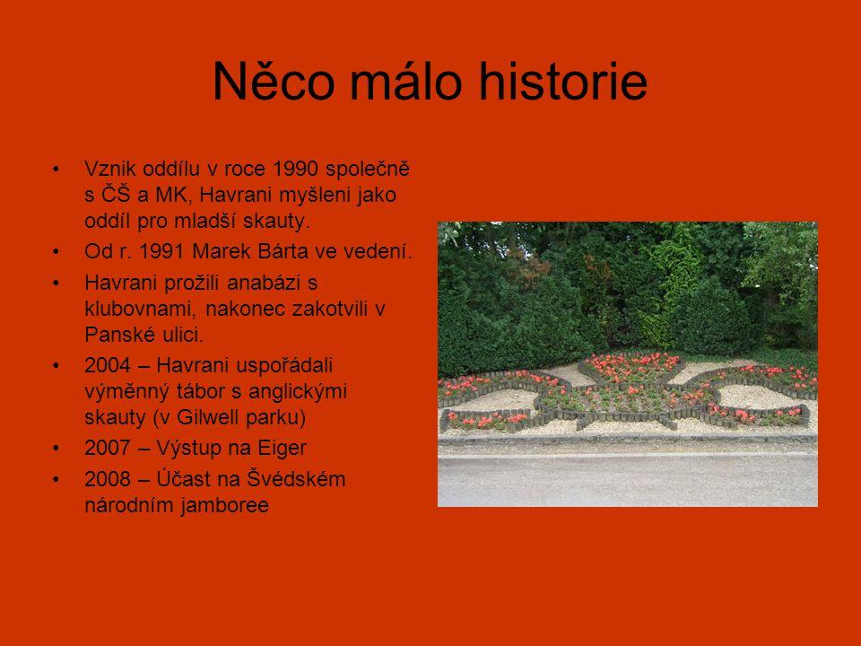 Něco málo historie Vznik oddílu v roce 1990 společně s ČŠ a MK, Havrani myšleni jako oddíl pro mladší skauty. Od r. 1991 Marek Bárta ve vedení. Havran