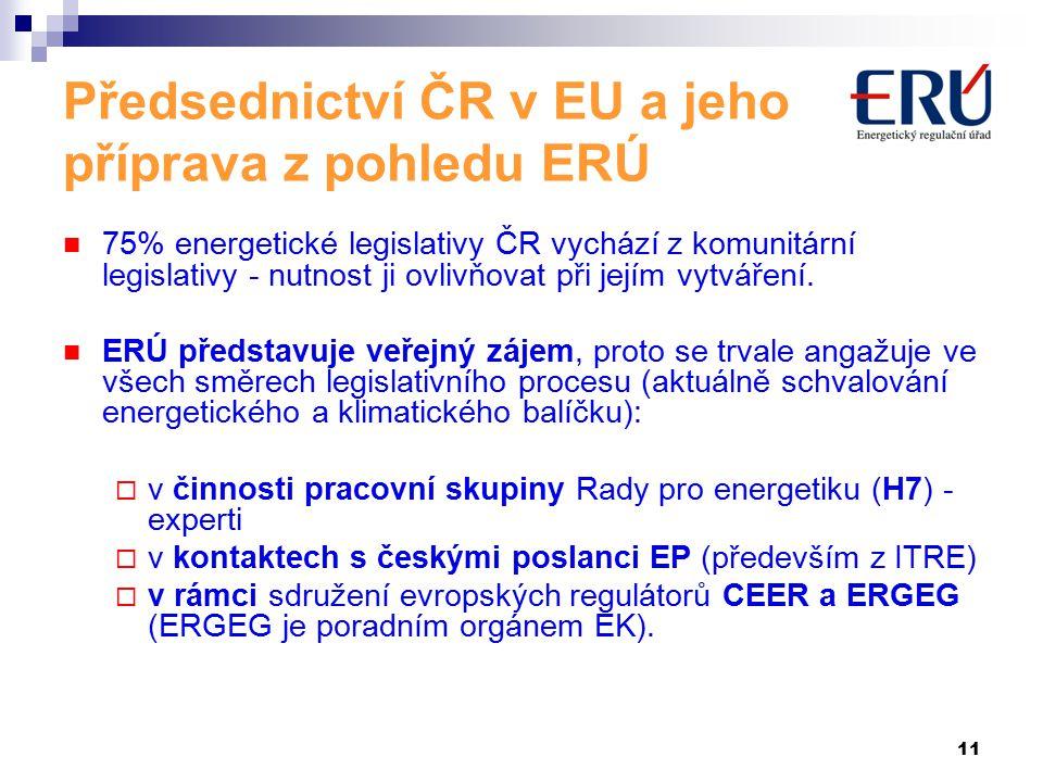 11 Předsednictví ČR v EU a jeho příprava z pohledu ERÚ 75% energetické legislativy ČR vychází z komunitární legislativy - nutnost ji ovlivňovat při jejím vytváření.