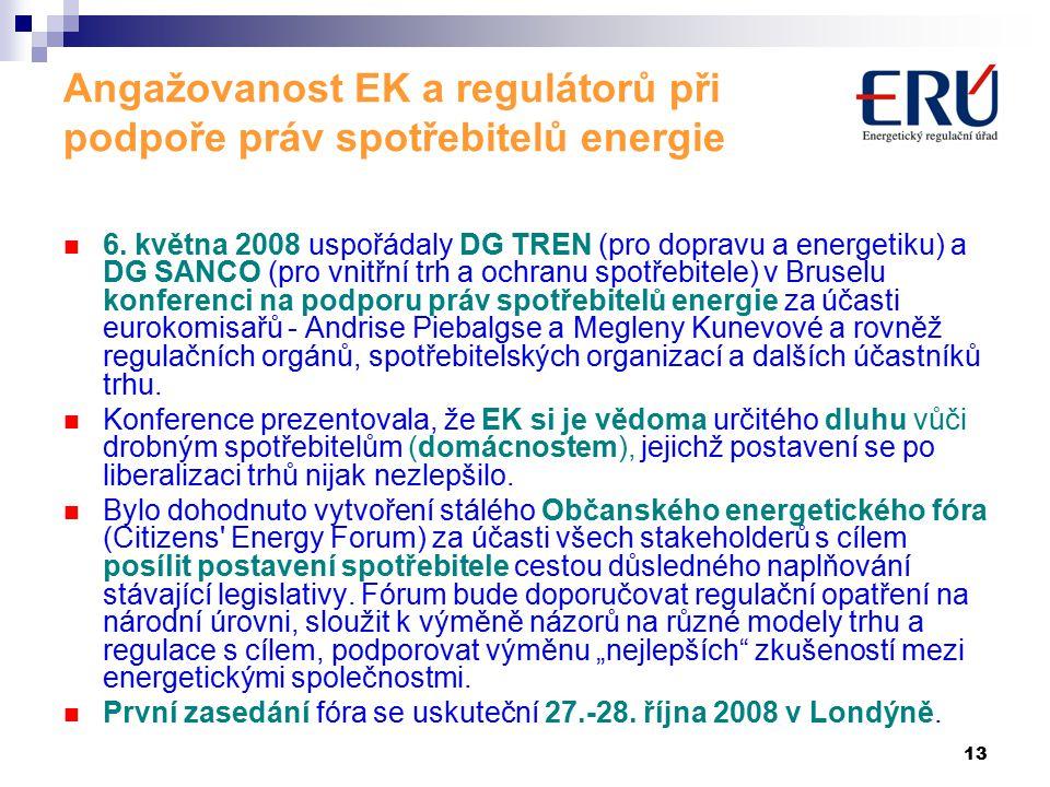 13 Angažovanost EK a regulátorů při podpoře práv spotřebitelů energie 6.